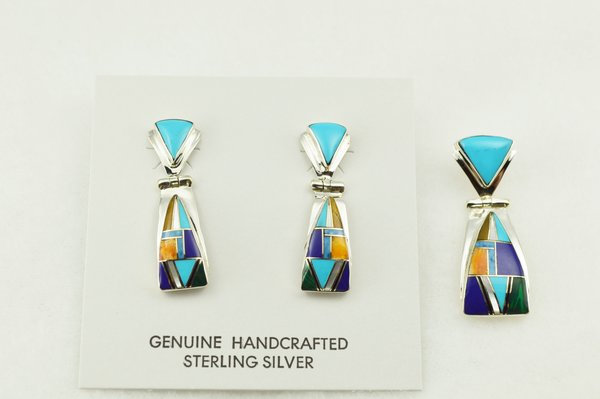 Sterling silver multi color inlay triangle shaped earrings and pendant set. S272