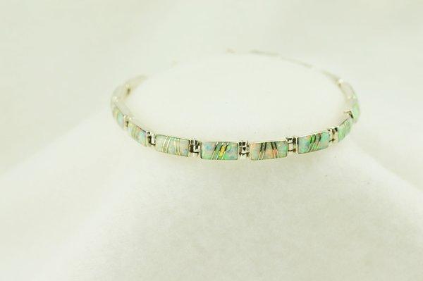 "Sterling silver white opal inlay link 7.5"" bracelet. B085"