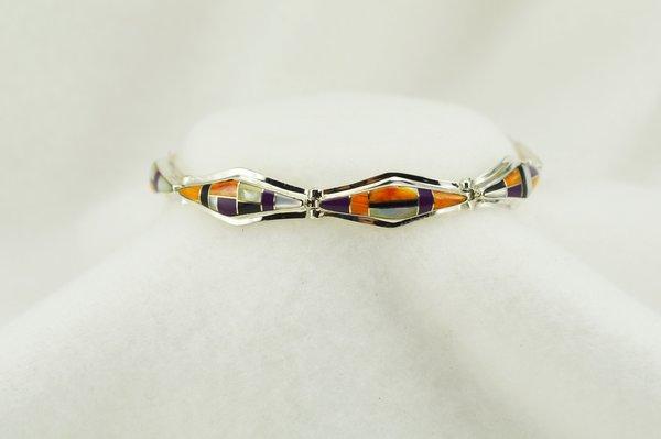 "Sterling silver multi color inlay link 7.25"" bracelet. B113"