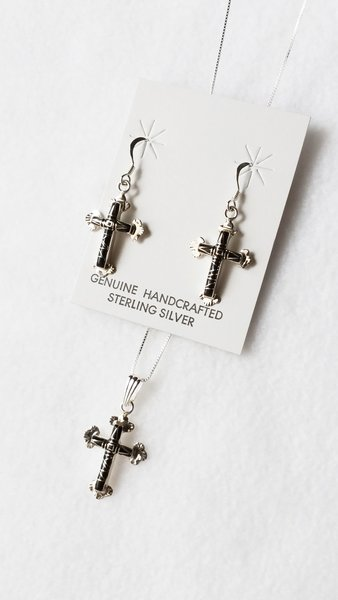 "Sterling silver black onyx inlay cross dangle earrings and 18"" sterling silver box chain necklace set. S061"