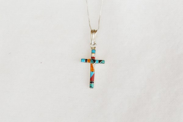 """Sterling silver multi color stone inlay cross pendant with 18"""" sterling silver box chain. N047."""