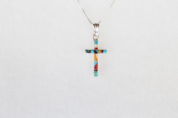 "Sterling silver multi color inlay cross pendant with sterling silver 18"" box chain. N032"