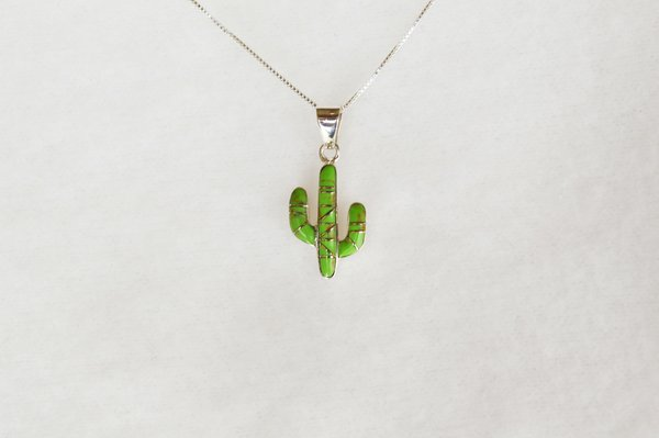 "Sterling silver gaspeite inlay cactus pendant with sterling silver 18"" box chain. N095."