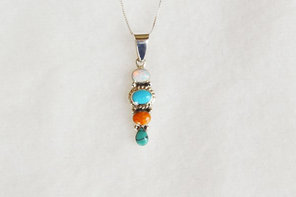 """Sterling silver multi color 3 tier oval pendant with sterling silver 18"""" box chain. N067."""