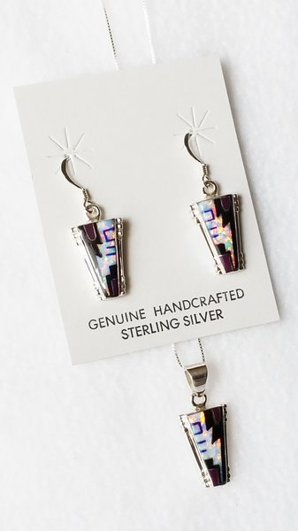 """Sterling silver white opal, lapis and sugilite inlay triangle dangle earrings and 18"""" sterling silver box chain necklace set. S040"""