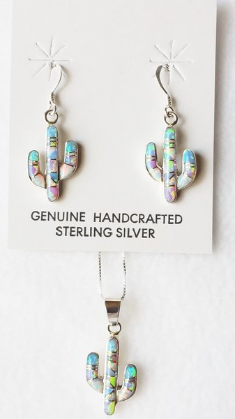 """Sterling silver blue, white and pink opal inlay cactus dangle earrings and 18"""" sterling silver box chain necklace set. S030"""