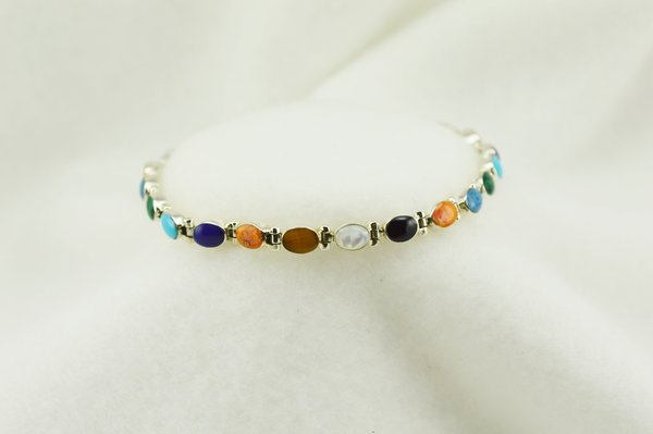 "Sterling silver multi color oval link 7.25"" bracelet. B126"
