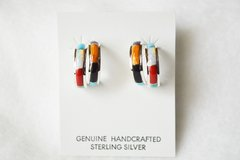 Sterling silver multi color inlay small double hoop post earrings. E278