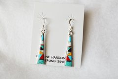 Sterling silver multi color inlay triangle tower dangle earrings. E097