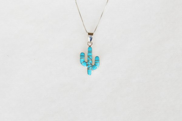 "Sterling silver turquoise inlay cactus pendant with sterling silver 18"" box chain. N077."