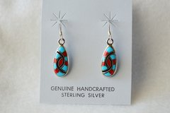 Sterling silver turquoise, coral and black onyx dangle earrings. (E061)