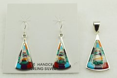 Sterling silver multi color inlay candy corn shaped earrings and pendant set. S131