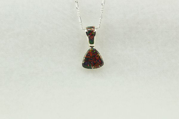 """Sterling silver black opal pick shaped pendant with sterling silver 18"""" figaro chain. N232"""