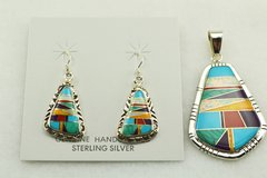 Sterling silver multi color inlay earrings and pendant set. S155