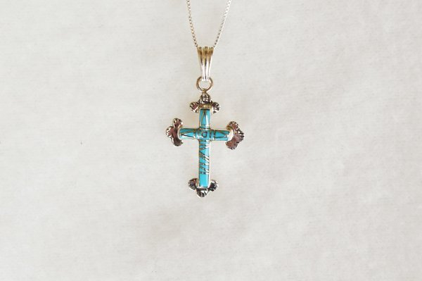 """Sterling silver turquoise inlay cross pendant with sterling silver 18"""" box chain. N005"""