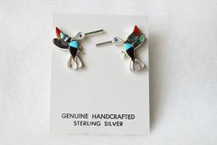 Sterling silver multi color inlay hummingbird post earrings. (E068)