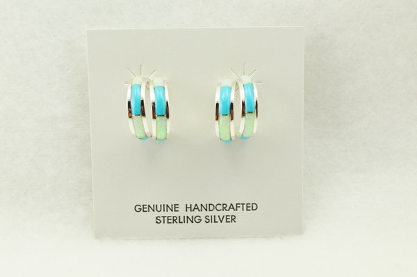 Sterling silver white opal and turquoise inlay double hoop post earrings. E358