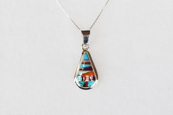 """Sterling silver multi color inlay raindrop pendant with sterling silver 18"""" box chain. N028"""