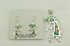 Sterling silver multi color inlay kokopelli earrings and pendant set. S140