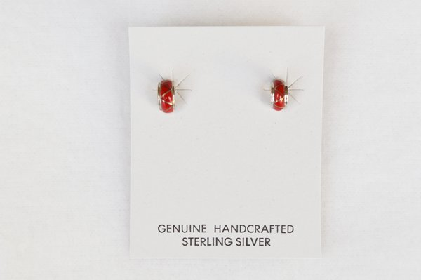Sterling silver coral inlay post earrings (E004)