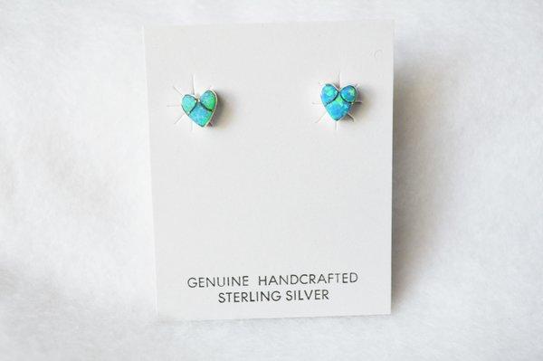 Sterling silver blue opal inlay heart post earrings. E189