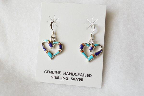 Sterling silver inlay heart dangle earrings. E095