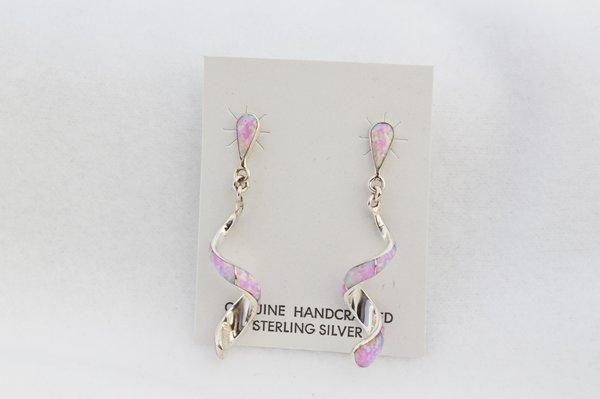 Sterling silver pink opal inlay twisty post earrings. E349