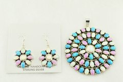 Sterling silver white, blue and pink opal multi stone large oval earrings and pendant set. S167
