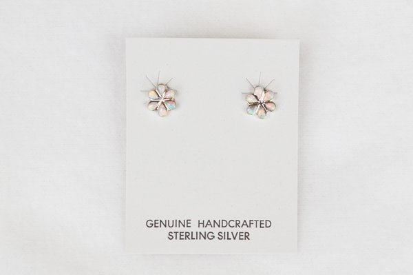 Sterling silver opal flower post earrings (E019)