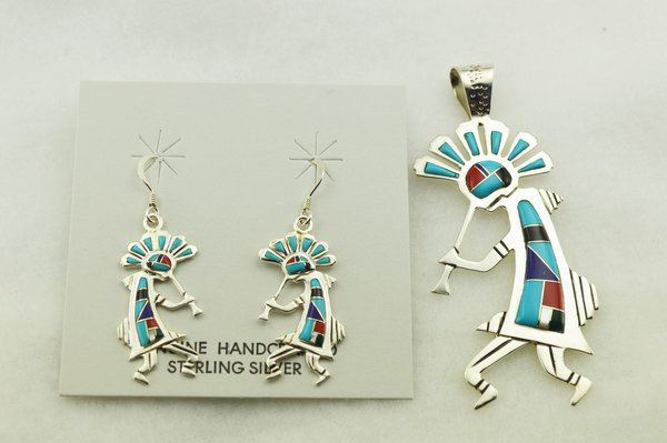 Sterling silver multi color inlay kokopelli earrings and pendant set. S287