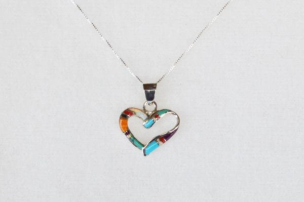 "Sterling silver multi color inlay heart pendant with sterling silver 18"" box chain. N043"
