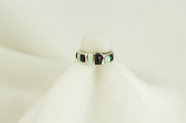 Sterling silver black onyx and white opal inlay ring. R068