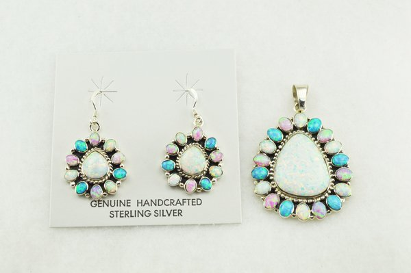 Sterling silver white, blue and pink opal oval earrings and pendant set. S159