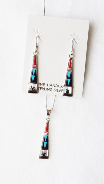 "Sterling silver multi color inlay tall triangle dangle earrings and 18"" sterling silver box chain necklace set. S101"
