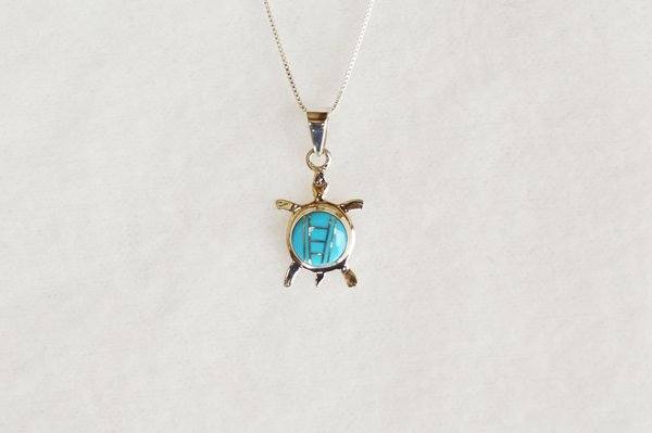 "Sterling silver turquoise inlay turtle pendant with sterling silver 18"" box chain. N004"