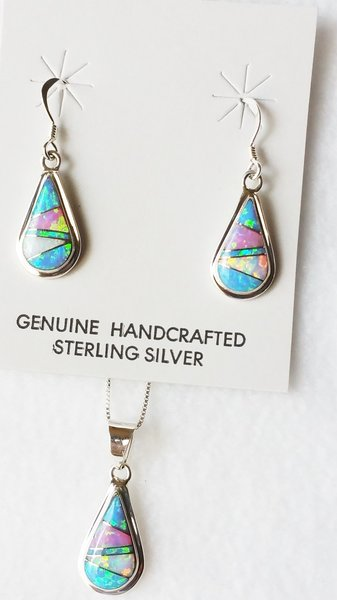 """Sterling silver blue, white and pink opal inlay teardrop dangle earrings and 18"""" sterling silver box chain necklace set. S033"""