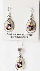 "Sterling silver multi color inlay raindrop in hoop dangle earrings and 18"" sterling silver box chain necklace set. S046"