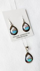 """Sterling silver white, pink and blue opal inlay teardrop dangle earrings and 18"""" sterling silver box chain necklace set. S006"""