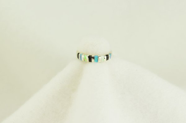 Sterling silver white opal, blue opal and black onyx inlay ring. R113