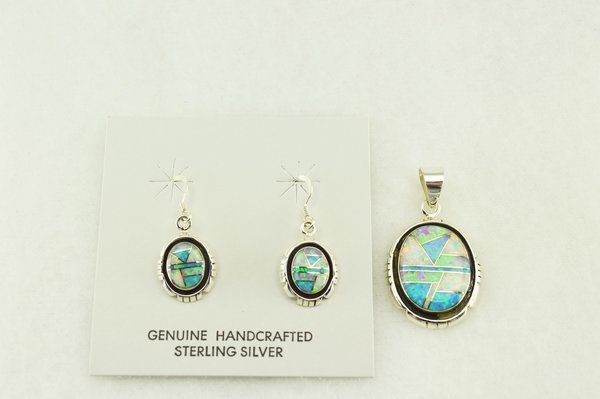 Sterling silver white, blue and pink opal inlay oval edged earrings and pendant set. S168