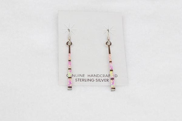 Sterling silver inlay pink opal stick earrings. E109