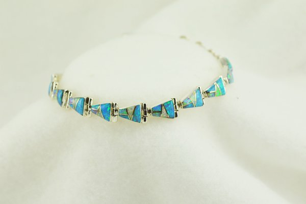 "Sterling silver white, pink and blue opal inlay link 7.5"" bracelet. B079"