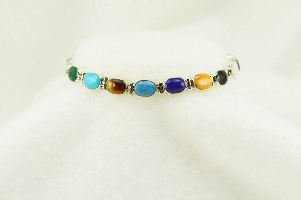 "Sterling silver multi color oval link 7.25"" bracelet. B112"