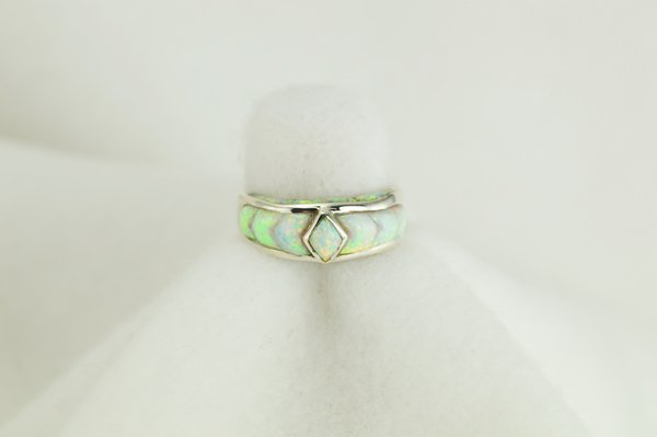 Sterling silver white opal inlay ring. R021