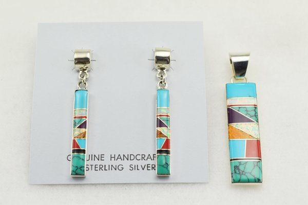 Sterling silver multi color inlay rectangle earrings and pendant set. S137