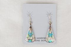 Sterling silver blue, pink and white opal inlay large triagle dangle earrings. E133