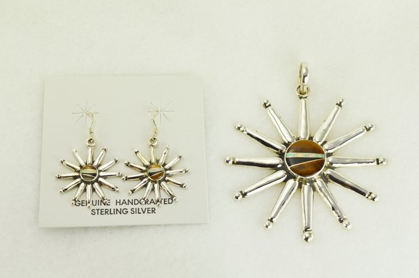 Sterling silver white opal, tiger eye and black onyx inlay star dangle earrings and pendant set. S342