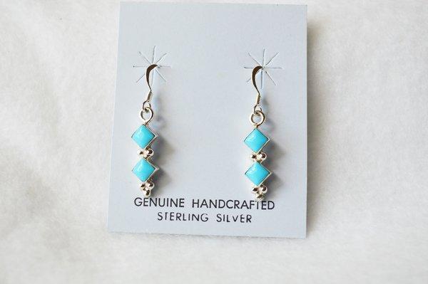 Sterling silver turquoise double diamond dangle earrings. E166