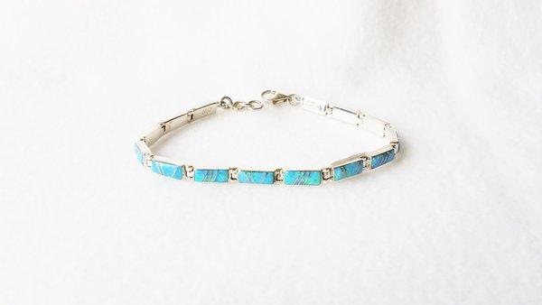 """Sterling silver blue opal inlay 8.25"""" mini link bracelet. B004"""
