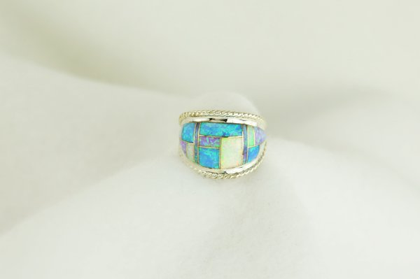 Sterling silver blue opal, pink opal and white opal inlay ring. R019